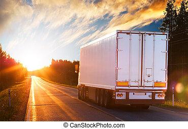aftenen, lastbil, vej, asfalt