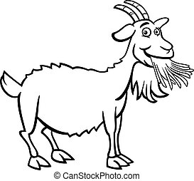 agerjord, bog, coloring, cartoon, goat