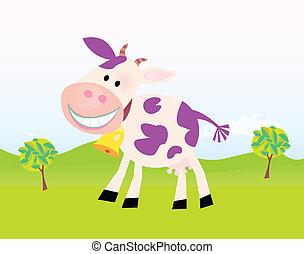 agerjord, cartoon., vektor, cow., scene