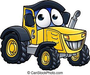 agerjord, karakter, cartoon, traktor