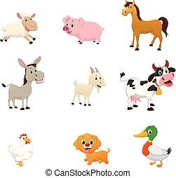 agerjord, sæt, cartoon, dyr