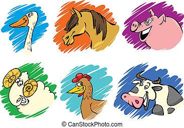 agerjord, sæt, dyr, cartoon