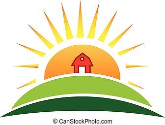 agerjord, sol, landbrug, logo