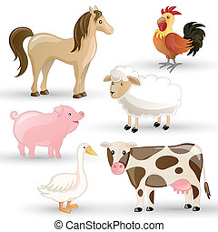 agerjord, vektor, dyr