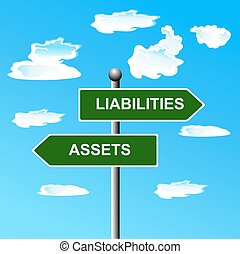 aktiver, liabilities, to, vej, vej