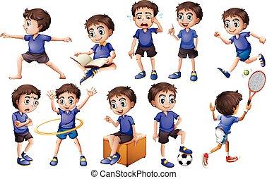 aktiviteter, dreng, forskellige