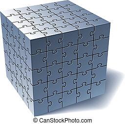 al, opgave, jigsaw, sammen, dele, cube.