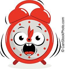 alarm, vektor, clock., klinge, illustration