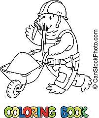 alfabet., alfabet, arbejder, book., coloring, w, walrus