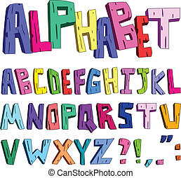 alfabet, cartoon, 3