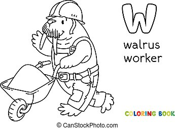 alfabet., coloring, w, book., arbejder, walrus, alfabet