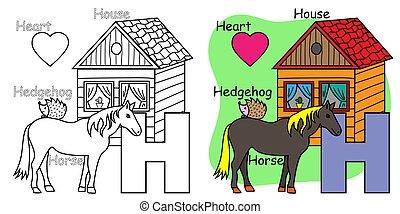 alfabet, engelsk, brev, children., h, bog, hest, hedgehog, coloring, hus