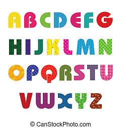 alfabet, farverig