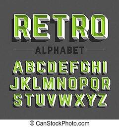 alfabet, retro stiliser