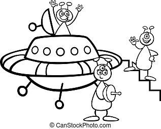 aliens, coloring bog, ufo