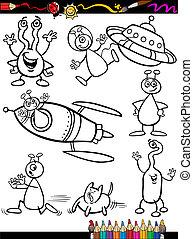 aliens, coloring, sæt, bog, cartoon