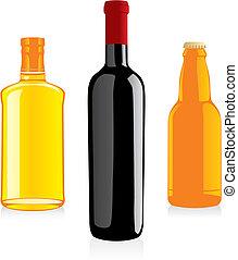 alkohol, flasker, isoleret