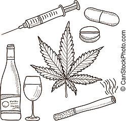 alkohol, marijuana, -, illustration, narkotikaer, anden