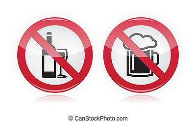 alkohol, nej, -, tegn, problem, nydelse
