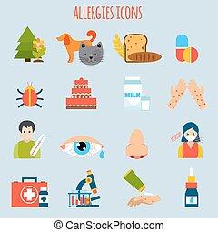 allergierne, sæt, ikon