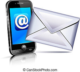ambulant, befordre, telefon, brev, ikon, 3