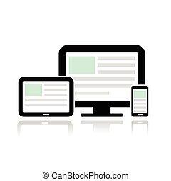 ambulant, fremvisning, computer, telefon., tablet