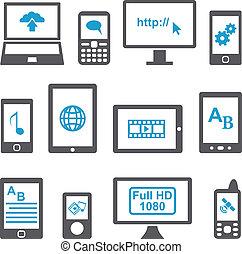 ambulant, sæt, computere, anordninger, iconerne