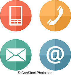 ambulant, sæt, iconerne, konvolut, -, knapper, kontakt, telefon, post
