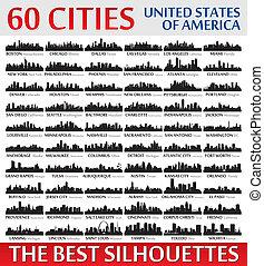 ameri, utrolige, fastslår, silhuetter, foren, set., skyline, byen