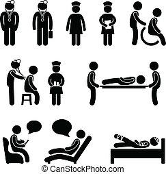 amm patient, hospitalet, syg, doktor