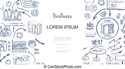 analytics, skitse, komposition, firma