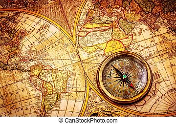 ancient, vinhøst, map., løgne, kompas, verden
