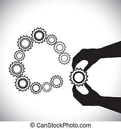 anden, hånd, hand(person), denne, behersker, adder, er, person, completion-vector, team(group), sammenvokse, hjælper, hjul, graphic., cirkel, cogwheels, illustration