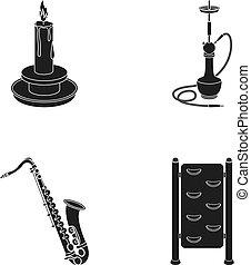 anden, hindring, sort, ikon, væv, sæt, collection., style., saxofon, hookah, iconerne, gennemlyse