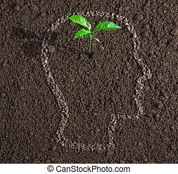 anføreren, begreb, jord, inderside, ide, unge, tilvækst, menneske, kontur