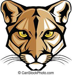 anføreren, g, panter, cougar, vektor, mascot