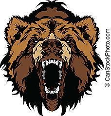 anføreren, grizzly bjørn, vektor, gra, mascot