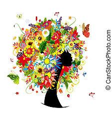 anføreren, kvinde, blad, hairstyle, fire sæsoner, blomster, konstruktion