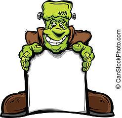anføreren, monstrum, image, halloween, tegn, vektor, holde, frankenstein, cartoon, glade