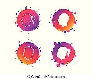 anføreren, symbols., kvindelig, icons., vektor, menneske, mandlig