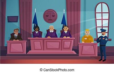 anklageren, lejlighed, vektor, courtroom, illustration, retfærdighed, lov, cartoon, dommer, forbryder, bogstaverne, gårdsplads, interior, baggrund, sagfører