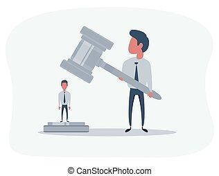 anklaget, retfærdighed, person, gårdsplads, law., venter, issuance, kendelse