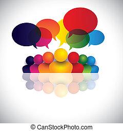 ansættelsen, folk kontor, kommunikation, diskussioner, børn, stab, og, medier, også, ansatte, møde, børn, vekselvirkning, konference, det gengi'r, grafik, tales., tales, vektor, sociale, eller