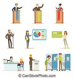 ansøgerene, politiske, demokratiske, stemme, valg, illustrationer, themed, proces, series