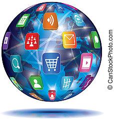 ansøgning, concept., globe., icons., internet