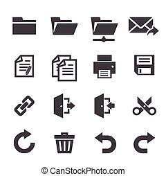 ansøgning, toolbar, iconerne