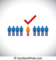 ansatte, grafisk, ret, selecting(hiring), illustration-, employable, candidate., illustration, mærke, person, arbejde, arbejder, suitable, show, check(tick)