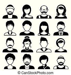 ansigter, mandlig, avatar, kvindelig, iconerne