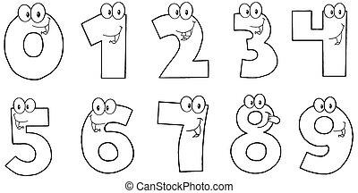 antal, morsom, skitseret