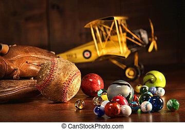 antik, baseball, gamle, handske, legetøj